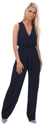 Wal/G Navy Pleated Tie Waist Jumpsuit
