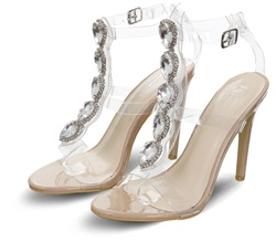 No Doubt Nude Stiletto Jewel Perspex Heels