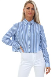 Glamorous Blue White Stripe Crop Blouse