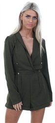 Miss Truth Khaki V Neck Long Sleeve Playsuit