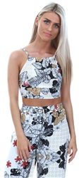 Parisian White Floral Crop Top