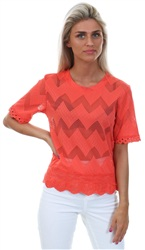 Cutie London Coral Frill Zig Zag Short Sleeve Top