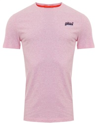 Superdry Pastel Pink Marl Orange Label Vintage Embroidery T-Shirt