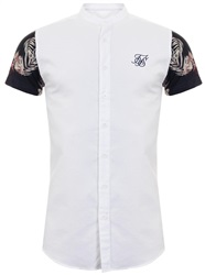 Siksilk White&Hazey Daze Jersey Short Sleeve Shirt With Contrast Sleeves