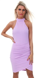 Ax Paris Lilac High Neck Ruffle Mini Dress