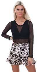 Influence Multi Leopard Print Ruffle Hem Short