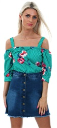 Influence Green Bardot Strap Floral Print Top