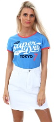 Superdry Roller Blue Marl Collegiate Ringer Entry T-Shirt