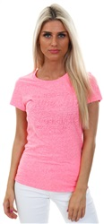 Superdry Fluro Pink Original Embossed Entry T-Shirt