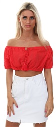 Qed Red Bardot Tie Tassle Elasticated Crop Top