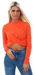 Glamorous Coral Crop Twist Long Sleeve Top