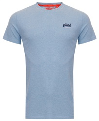 Superdry Pastel Blue Marl Orange Label Vintage Embroidery T-Shirt