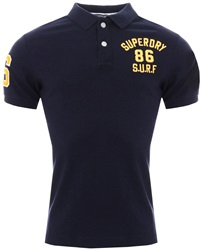 Superdry Techno Navy Marl Classic Super State Polo Shirt