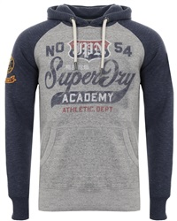 Superdry Harbour Grey Grindle/Pier Blue Grindle Athletic Raglan Hoodie