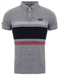 Superdry Grey Marl Classic Hardwick Stripe Polo Shirt