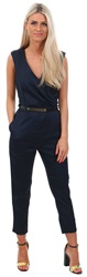 Ax Paris Navy Plunge Gold Belted Jumpsuit