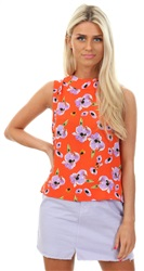 Glamorous Coral Orchid Flower Print Sleevless Top
