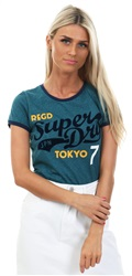 Superdry Teal Collegiate Ringer Entry T-Shirt