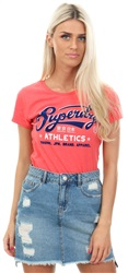 Superdry Blaze Coral Marl Collegiate Entry Tee