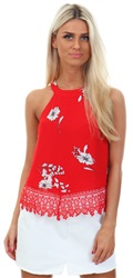 Glamorous Red Floral Print Sleeveless Lace Trim Top