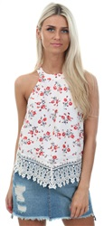Glamorous Cream Floral Print Sleeveless Lace Trim Top