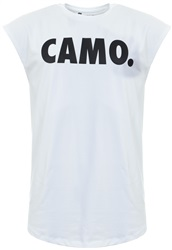 Camo. White/Black Sleeveless Printed T-Shirt