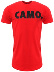 Camo. Red Curved Hem Printed T-Shirt