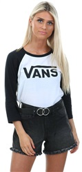 Vans White-Black Flying V Raglan Sleeve T-Shirt
