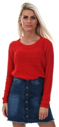 Only Red / Goji Berry Solid Knitted Pullover