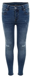 Kings Will Dream Mid Blue Romer Ripped Skinny Denim Jean