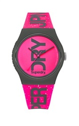 Superdry Pink Glitter Logo Watch