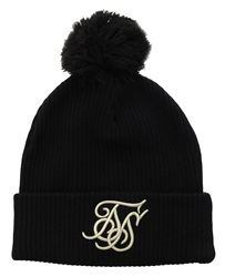 Siksilk Black Ribbed Knit Contrast Embroidery Beanie