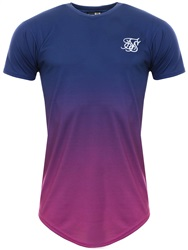 Siksilk Navy/Pink S/S Curved Hem Faded Tee