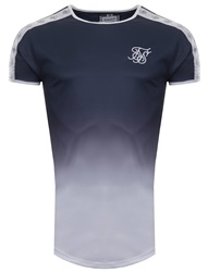 Siksilk Navy Short Sleeve Taped Fade Gym Tee