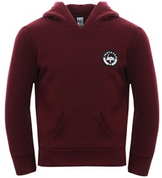 Hype Burgundy Basic Script Crest Pullover Hoodie