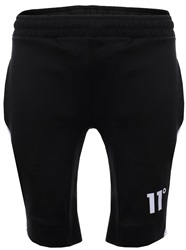 11degrees Black Polly Panel Shorts