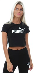 Puma Cotton Black Tape Logo Cropped Tee