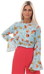 Style London Blue Flare Sleeve Floral Top