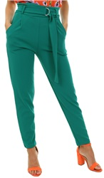 Parisian Green Buckle Belted High Waist Trouser