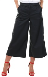 Only Black Mandy Faux Leather Culotte Pant
