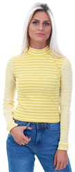 Glamorous Yellow/White Stripe Rib Cropped Top