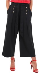 Missi Lond Black Cullotte Pleat Button Trousers