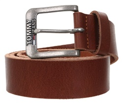 Hilfiger Denim Dark Tan Classic Logo Buckle Leather Belt