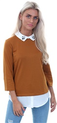 Vila Cathey Spice Maiely 3/4 Sleeve Top