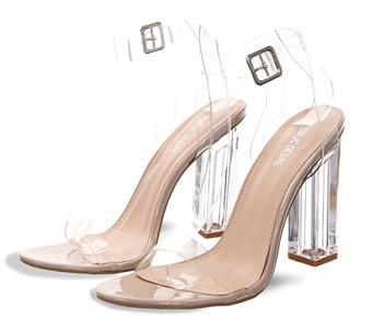 6b2b7310580 Public Desire Nude Alia Strappy Perspex High Heels