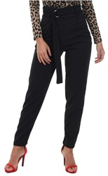 Parisian Black Buckle Belted High Waist Trouser