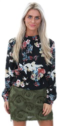 Style London Black Floral Print Long Sleeve Top