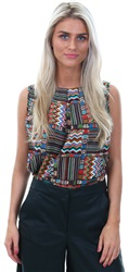 Influence Multi Aztec Print Button Back Sleeveless Top