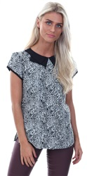 Influence Black / White Peter Pan Pattern Top