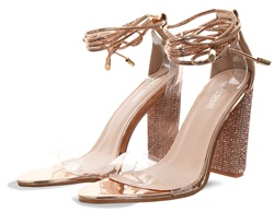 Public Desire Rose Gold Fatale Diamante Perspex Lace Up Heel